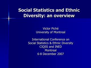 Social Statistics and Ethnic Diversity: an overview
