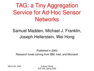 TAG: a Tiny Aggregation Service for Ad-Hoc Sensor Networks