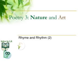 Poetry 3: Nature and Art
