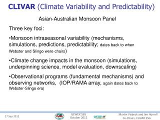 CLIVAR Climate Variability and Predictability
