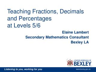 Teaching Fractions, Decimals and Percentages at Levels 5