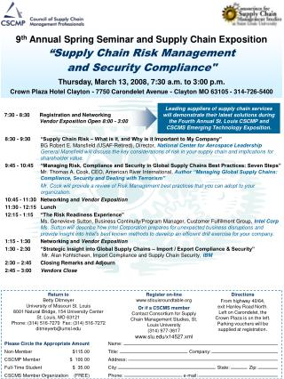 9th annual spring seminar and supply chain exposition  supply chain risk management and security compliance