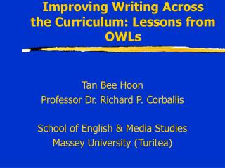 Improving Writing Across the Curriculum: Lessons from OWLs