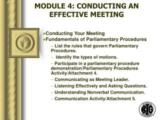 module 4: conducting an effective meeting