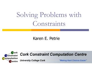 Solving Problems with Constraints