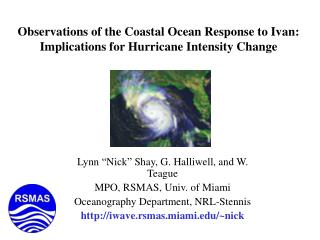 Observations of the Coastal Ocean Response to Ivan: Implications for Hurricane Intensity Change