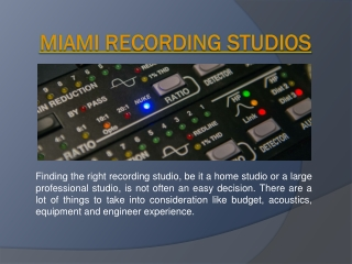 Recording Studios In Miami