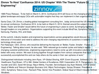 Zinnov To Host 'Confluence 2014: US Chapter