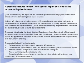 Corcentric Featured in New TAPN Special Report