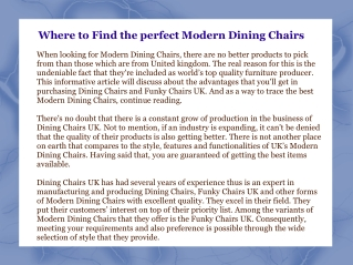 Where to Find the perfect Modern Dining Chairs