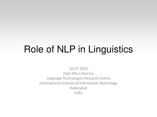 Role of NLP in Linguistics