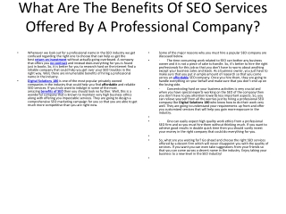 What Are The Benefits Of SEO Services Offered By A Professio