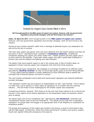 Outlook for Urgent Care Center M