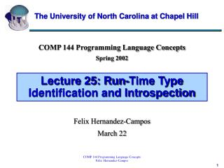 Lecture 25: Run-Time Type Identification and Introspection