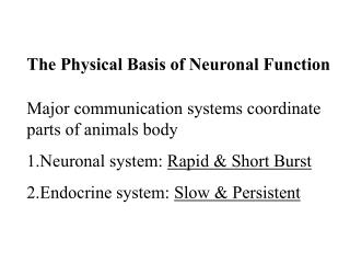 Major communication systems coordinate parts of animals body Neuronal system: Rapid  Short Burst  Endocrine system: Slow