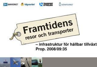 infrastruktur f r h llbar tillv xt  Prop. 2008
