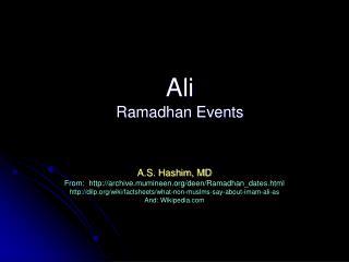 Ali  Ramadhan Events