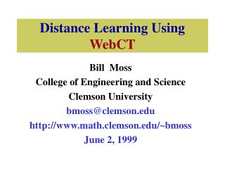Distance Learning Using WebCT