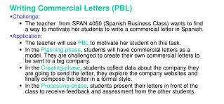 Writing Commercial Letters PBL