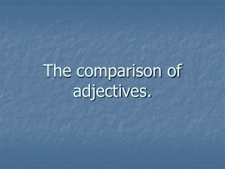 the comparison of adjectives