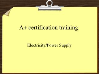 A certification training:
