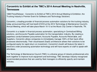 Corcentric to Exhibit at the TMC's 2014 Annual Meeting