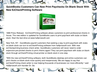 QuickBooks Customers Can Now Print Paychecks On Blank Stock