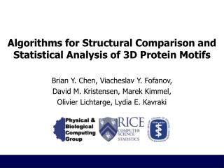 Algorithms for Structural Comparison and Statistical Analysis of 3D Protein Motifs