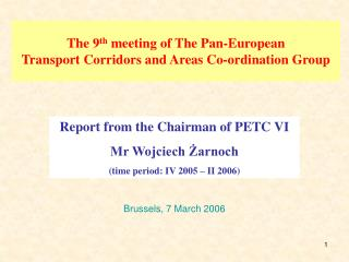 The 9th meeting of The Pan-European  Transport Corridors and Areas Co-ordination Group