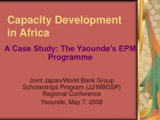 Capacity Development in Africa
