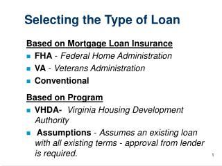 Selecting the Type of Loan