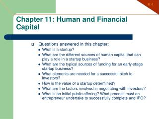 Chapter 11: Human and Financial Capital