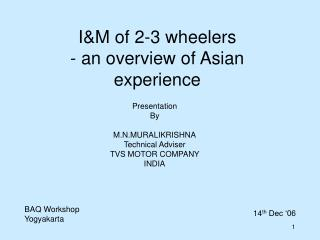 IM of 2-3 wheelers - an overview of Asian experience