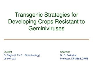 Transgenic Strategies for Developing Crops Resistant to Geminiviruses