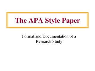 The APA Style Paper