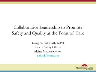 Collaborative Leadership to Promote Safety and Quality at the Point of Care