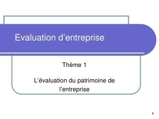 evaluation des entreprise