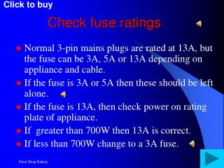 Check fuse ratings