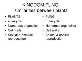 KINGDOM FUNGI similarities between plants