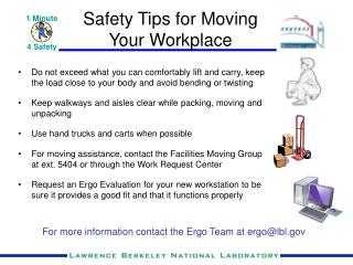 Safety Tips for Moving  Your Workplace