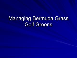 Managing Bermuda Grass Golf Greens