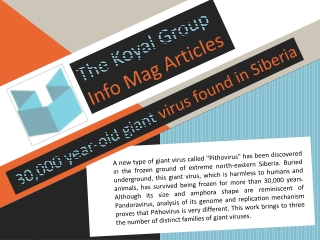 The Koyal Group Info Mag Articles: 30,000 year-old giant vir
