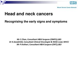 Head and neck cancers  Recognising the early signs and symptoms