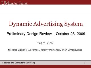 Dynamic Advertising System   Preliminary Design Review   October 23, 2009