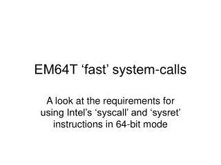 em64t  fast  system-calls