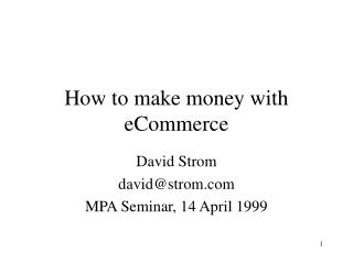 How to make money with eCommerce