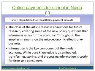 In Brief  Online payments for school in Noida