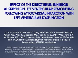 effect of the direct renin inhibitor aliskiren on left ventricular remodeling following myocardial infarction with left