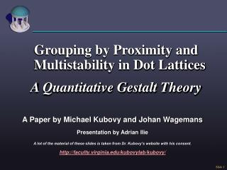 Grouping by Proximity and Multistability in Dot Lattices A Quantitative Gestalt Theory