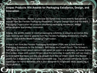 Ampac Products Win Awards for Packaging Excellence, Design
